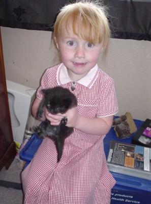 my daughter with our cat jd when he was a kitten